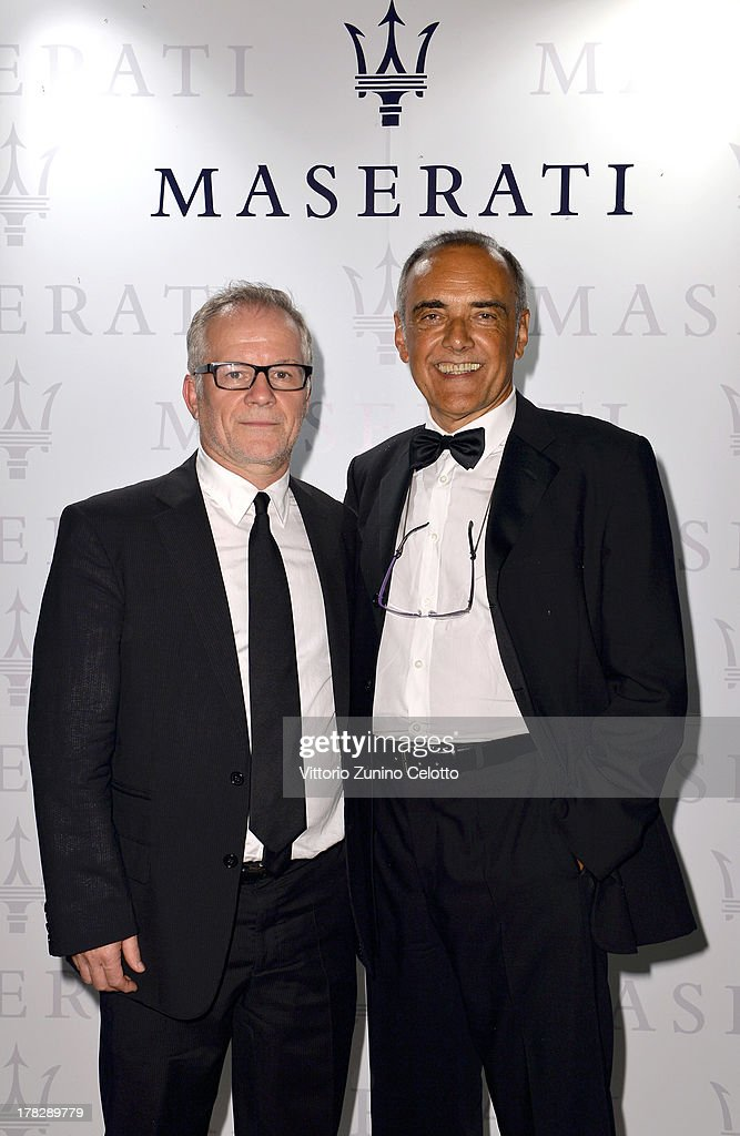 Cannes Film Festival artistic director Thierry Fremaux (L) and Venice Film Festival Director Alberto Barbera attend the 70th Venice International Film Festival at Terrazza Maserati on August 28, 2013 in Venice, Italy.