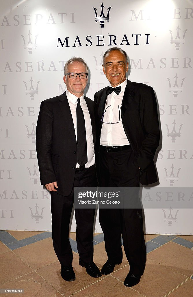 Cannes Film Festival artistic director Thierry Fremaux (L) and Venice Film Festival Director <a gi-track='captionPersonalityLinkClicked' href=/galleries/search?phrase=Alberto+Barbera&family=editorial&specificpeople=6900426 ng-click='$event.stopPropagation()'>Alberto Barbera</a> attend the 70th Venice International Film Festival at Terrazza Maserati on August 28, 2013 in Venice, Italy.