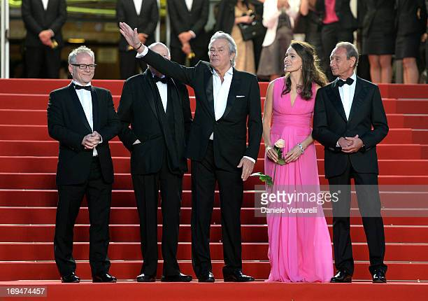 Cannes Film Festival artistic director Thierry Fremaux Chairman of the Cannes Film Festival Gilles Jacob actor Alain Delon Aurelie Filippetti and...