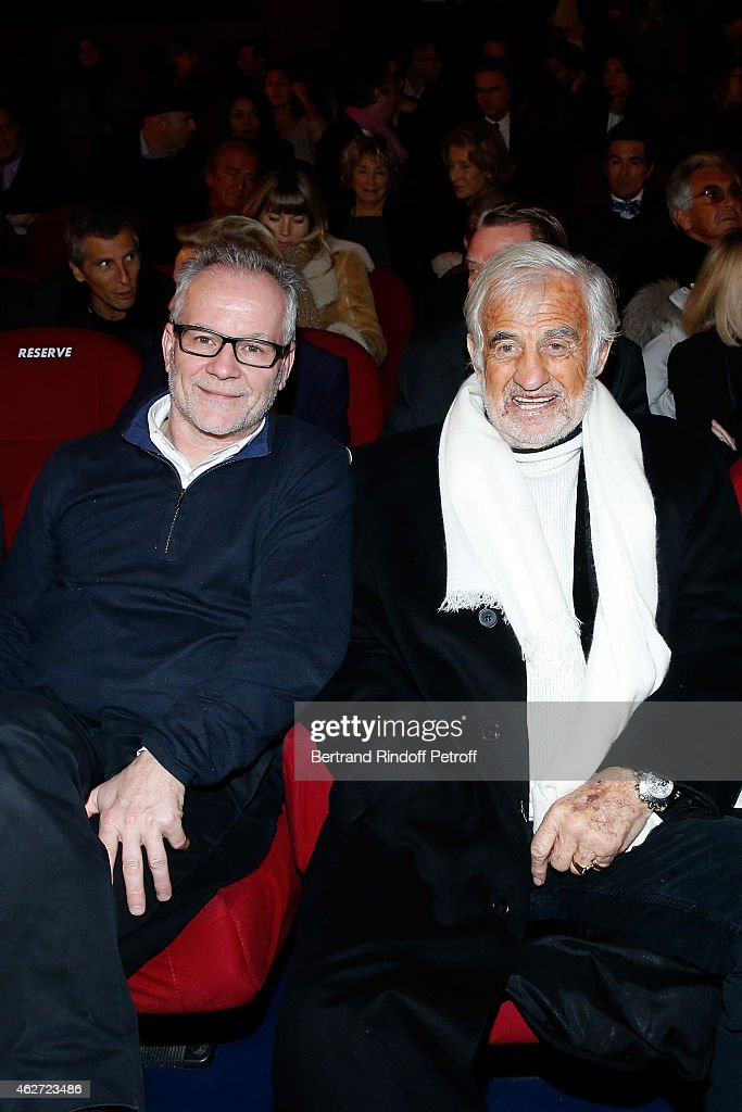 Cannes Film Festival Delegate General <a gi-track='captionPersonalityLinkClicked' href=/galleries/search?phrase=Thierry+Fremaux&family=editorial&specificpeople=618039 ng-click='$event.stopPropagation()'>Thierry Fremaux</a> and Actor Jean Paul Belmondo attend the Private Screening of the Movie 'Tout Peut Arriver' at Mac Mahon Cinema on February 3, 2015 in Paris, France. This film is the first film of Philippe Labro. It will be broadcast on the TV channel D8 Sunday, February 22, 2015
