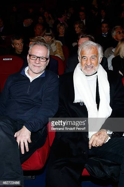 Cannes Film Festival Delegate General Thierry Fremaux and Actor Jean Paul Belmondo attend the Private Screening of the Movie 'Tout Peut Arriver' at...