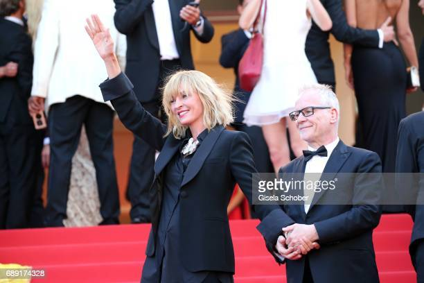 Cannes film festival director Thierry Fremaux welcomes Uma Thurman as they attend the 'Based On A True Story' screening during the 70th annual Cannes...