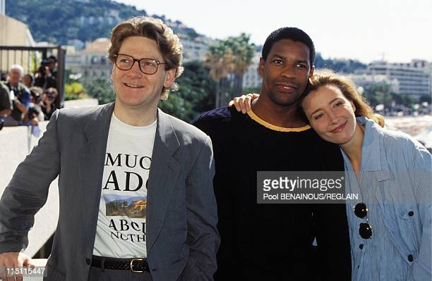 Cannes Film Festival Emma Thompson team of movie 'Much Ado about Nothing' in Cannes France on May 21 1993 Kenneth Branagh Denzel Washington and Emma...