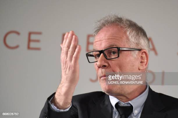 Cannes Film Festival General Delegate Thierry Fremaux speaks during a press conference to announce the movies in official competition for the 2017...