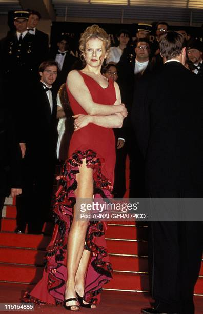 Cannes Film Festival in Cannes France in Mai 1996 Autralian actress Nicole Kidman wearing a long red dress inspired by traditional flamenco dresses