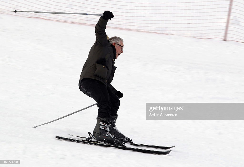 Cannes Film Festival managing director Thierry Fremaux skiing during day 3 of the Kustendorf Film Festival on January 20, 2013 in Drvengrad, Serbia.