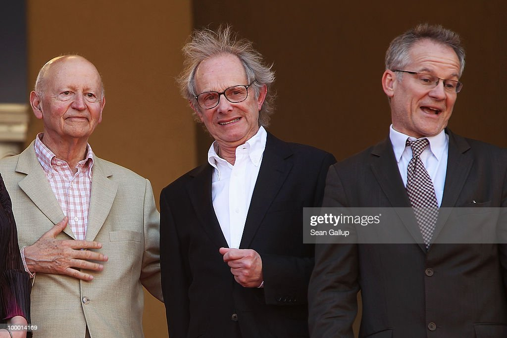Cannes Film Festival President Gilles Jacob, Director Ken Loach and Director of the Cannes Film Festival Thierry Fremaux attend the 'Route Irish' Premiere at the Palais des Festivals during the 63rd Annual Cannes Film Festival on May 20, 2010 in Cannes, France.