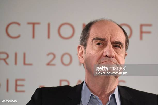 Cannes Film Festival President Pierre Lescure looks on during a press conference to announce the movies in official competition for the 2017 Cannes...