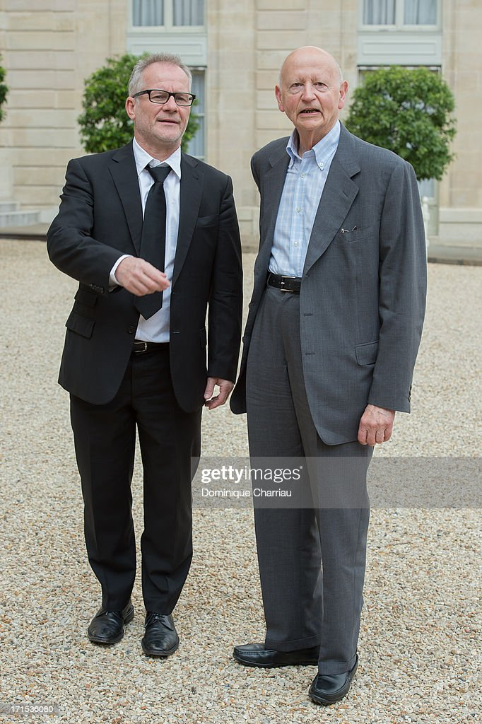 Cannes Flim Festival President Gilles Jacob (R) and Delegate General Thierry Fremaux Attend Lunch At Elysee Palace at Elysee Palace on June 26, 2013 in Paris, France.