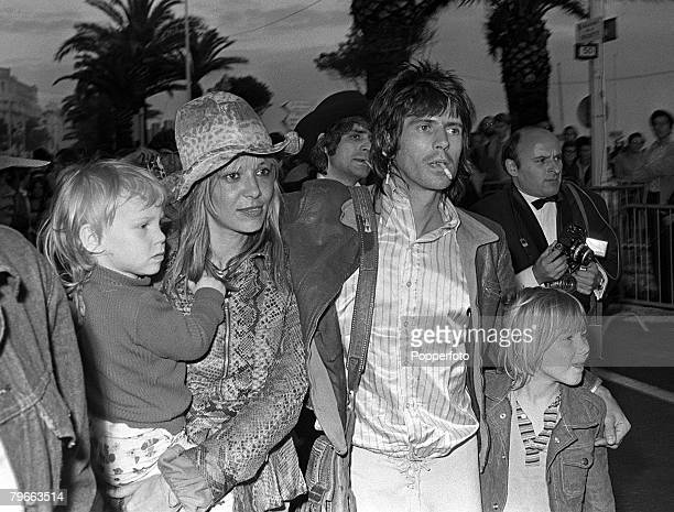 Cannes France 21st May 1971 Keith Richards of British rock group 'The Rolling Stones' pictured with his wife Anita Pallenberg and their two children...