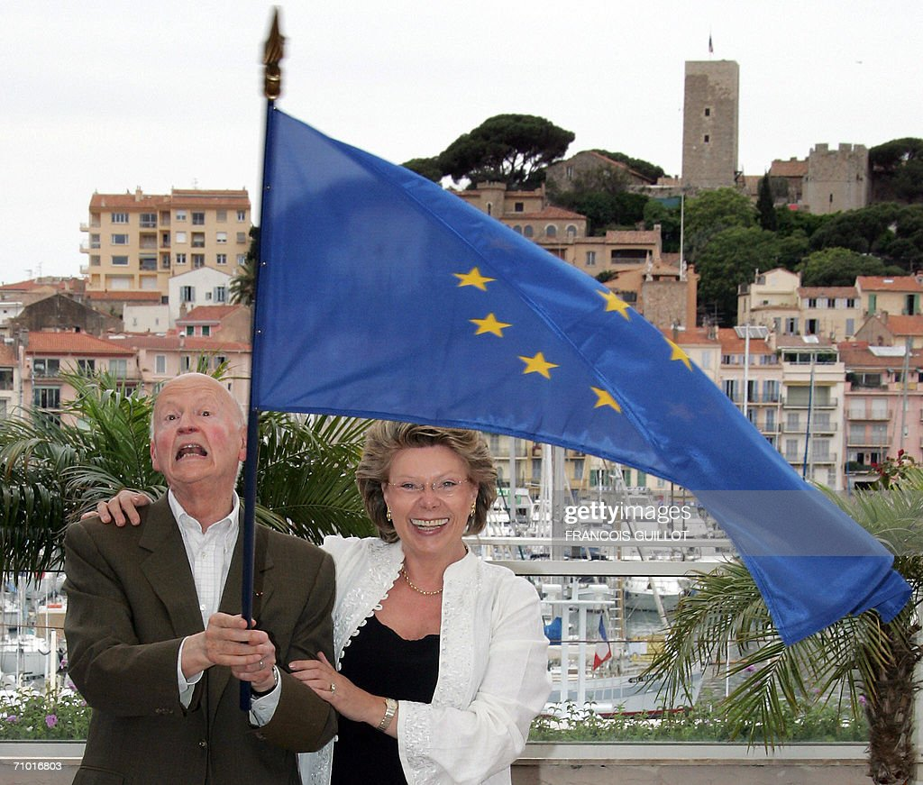 Festival President Gilles Jacob and EU Commissioner for Information Society and Media Viviane Reding pose during a photocall for the 'New talent in...