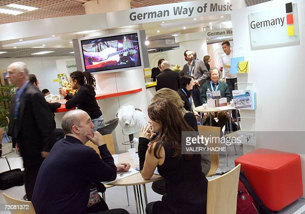 People visit A German stand 23 january 2007 in Cannes French Riviera at the 41st MIDEM the world's biggest and most influential music trade fair The...