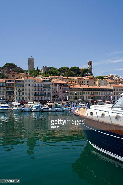 Cannes harbor with boats lined up on docks