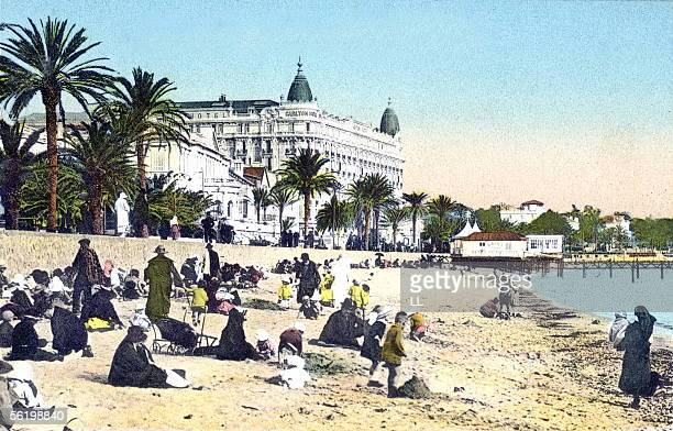 Cannes The beach and the Carlton Hotel Years 1910