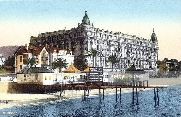 Cannes The Carlton Hotel and the public baths Years 1910