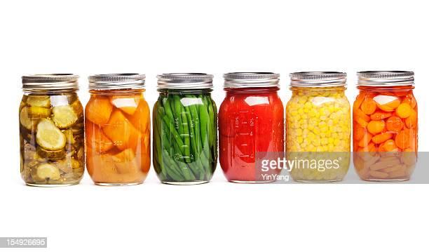 Canning cibo barattoli di verdure fresche in scatola di vetro conservato in Storage