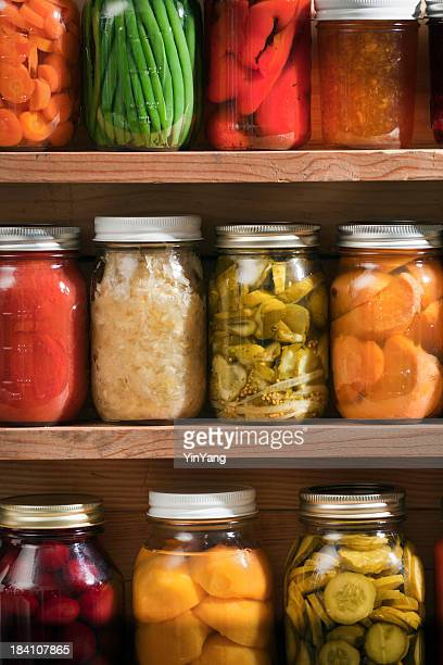 Canning Jars of Canned Food on Shelves, Preserved Vegetable Storage