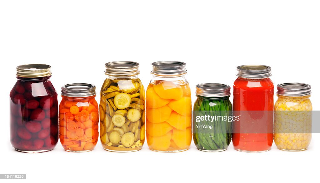 Canning Jars of Canned, Pickled Vegetable Food Preserved for Storage : Stock Photo
