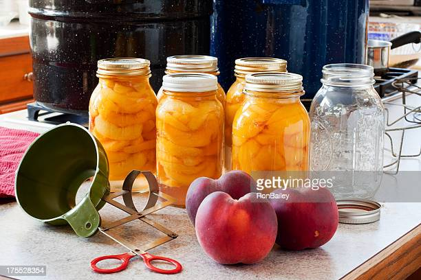 Canning Peaches - Five Full Jars and One Empty