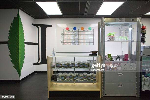 Cannisters of medical marijuana starter plants and a price list for the marijuana products is seen inside Highland Health medical dispensary and...