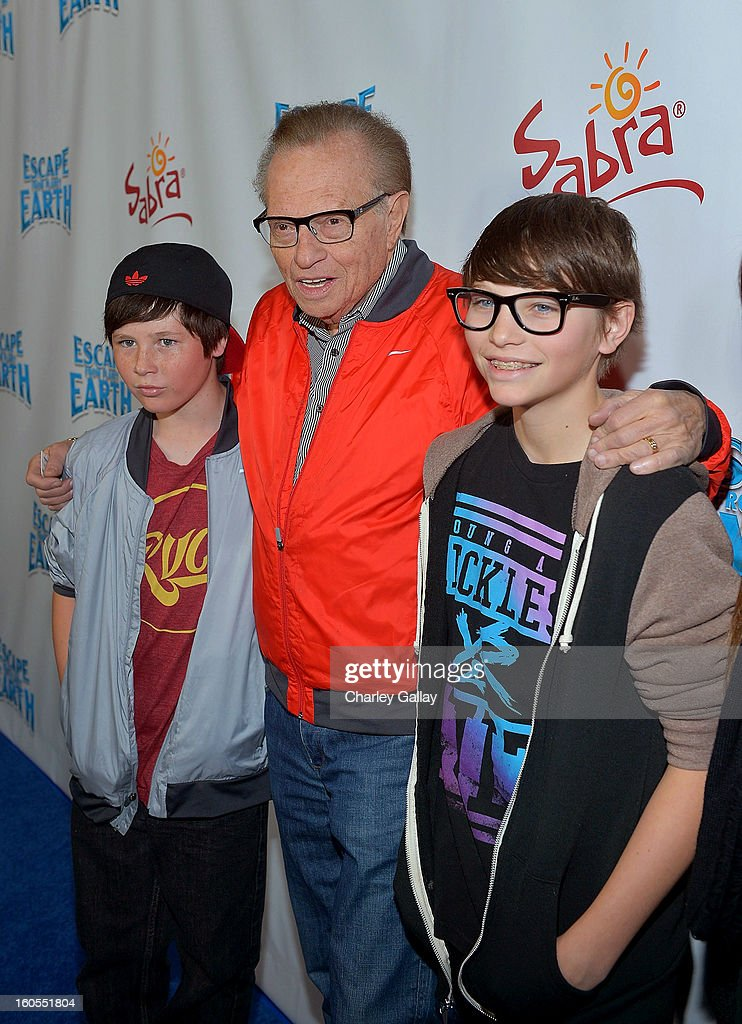 Cannon King, tv personality Larry King and Chance King attend the 'Escape From Planet Earth' premiere presented by The Weinstein Company in partnership with Sabra at Mann Chinese 6 on February 2, 2013 in Los Angeles, California.