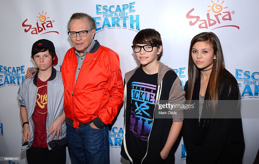 Cannon King, tv personality <a gi-track='captionPersonalityLinkClicked' href=/galleries/search?phrase=Larry+King&family=editorial&specificpeople=202014 ng-click='$event.stopPropagation()'>Larry King</a>, Chance King and Tatiana Franco attend the premiere of the Weinstein Company's 'Escape From Planet Earth' held at the Mann Chinese 6 on February 2, 2013 in Los Angeles, California.