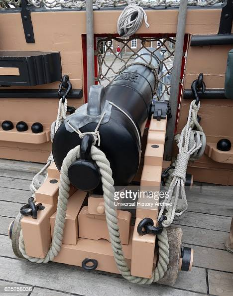 Cannon on the deck of HMS Victory is a 104gun firstrate ship of the line of the Royal Navy ordered in 1758 laid down in 1759 and launched in 1765 She...