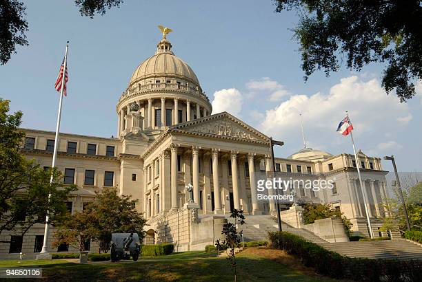 A cannon sits in front of the Mississippi State Capitol building Aug 14 in Jackson Mississippi