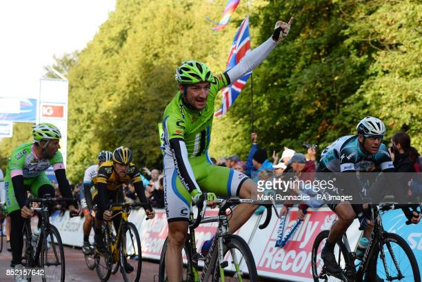 Cannondale's Elia Viviani celebrates winning the first stage of the 2013 Tour of Britain between Peebles and Drumlanrig Castle