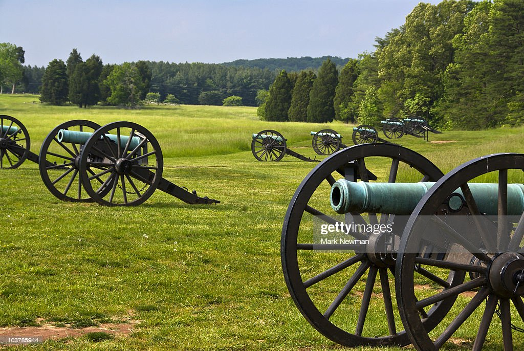 Cannons at Bull Run historic Civil War battlefield.