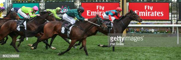 Cannyescent ridden by Beau Mertens wins the Brian Beattie Handicap at Flemington Racecourse on June 24 2017 in Flemington Australia