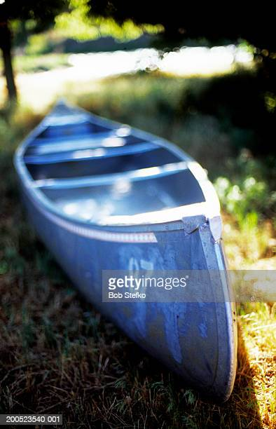 Canoe in grassy field along river side
