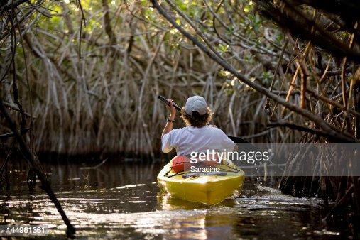 canoe in the river : Stock Photo