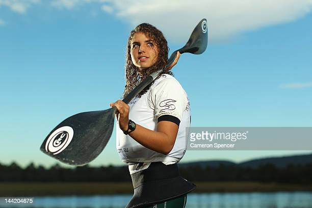 Canoe Slalom athlete Jessica Fox poses during an Australian Olympic Games Canoe Slalom portrait session at Penrith Whitewater Centre on May 11 2012...
