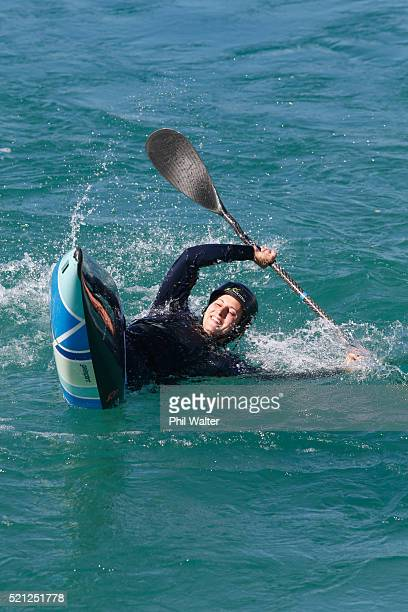 Canoe Slalom paddler Luuka Jones tests the waters before the New Zealand Olympic Canoe Slalom Team Selection announcement at the Vector Wero...