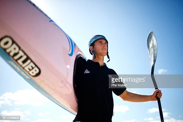 Canoe Slalom paddler Mike Dawson poses for a portrait during the New Zealand Olympic Canoe Slalom Team Selection announcement at the Vector Wero...