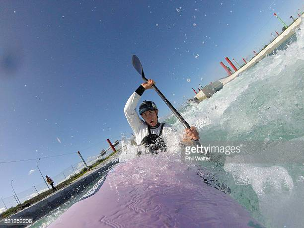 Canoe Slalom paddler Mike Dawson tests the waters before the New Zealand Olympic Canoe Slalom Team Selection announcement at the Vector Wero...