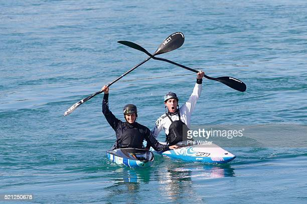 Canoe Slalom paddler's Luuka Jones and Mike Dawson during the New Zealand Olympic Canoe Slalom Team Selection announcement at the Vector Wero...