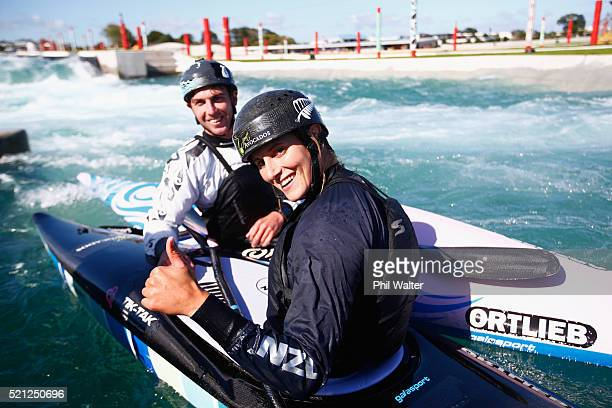 Canoe Slalom paddler's Luuka Jones and Mike Dawson pose on the water during the New Zealand Olympic Canoe Slalom Team Selection announcement at the...