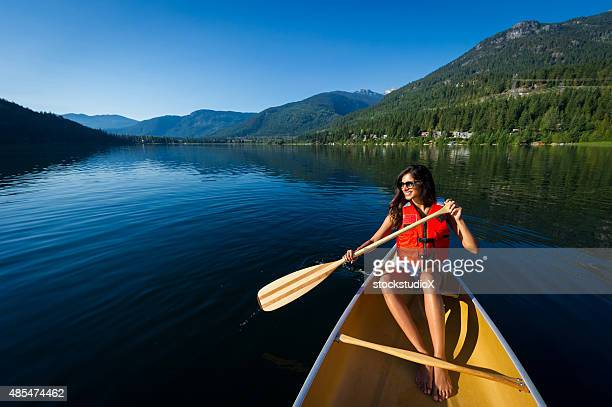 Canoeing on a prisitine mountain lake