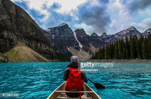 Canoeing on Moraine Lake : Stock Photo