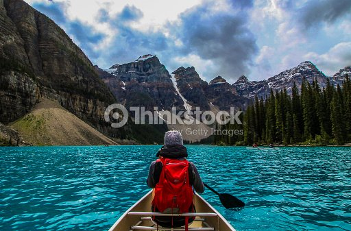 Canoeing on Moraine Lake : Stock Photo