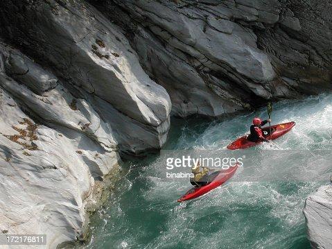 canoeist down the Sesia river