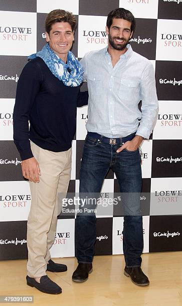 Canoeist Javier Hernanz and actor Ruben Cortada attend new Loewe fragances presentation photocall at El Corte Ingles store on March 18 2014 in Madrid...