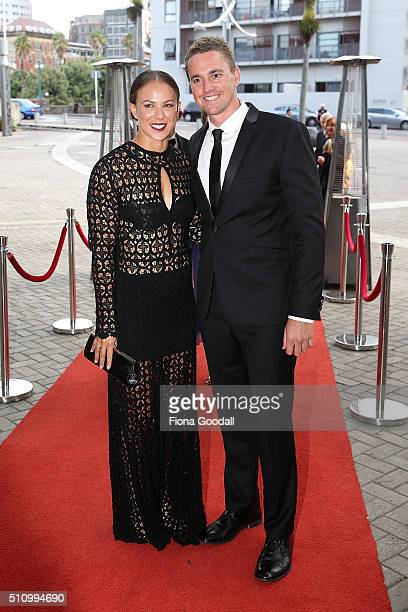 Canoeist Lisa Carrington and partner arrives at the 2016 Halberg Awards at Vector Arena on February 18 2016 in Auckland New Zealand