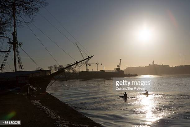 Canoeists at sunrise,Stockholm,Sweden