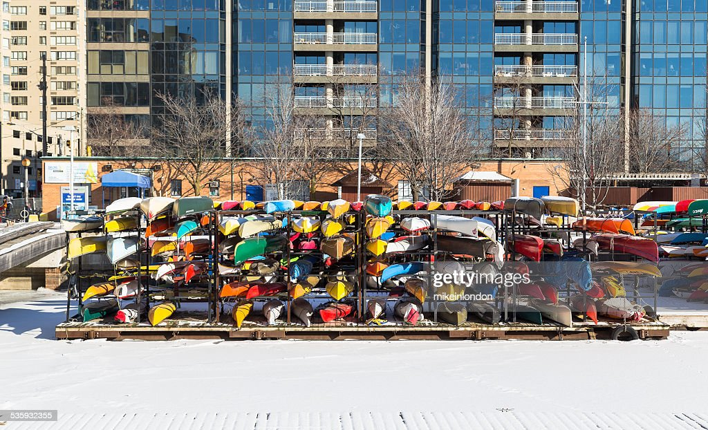 Canoes in Storage for the winter : Stock Photo