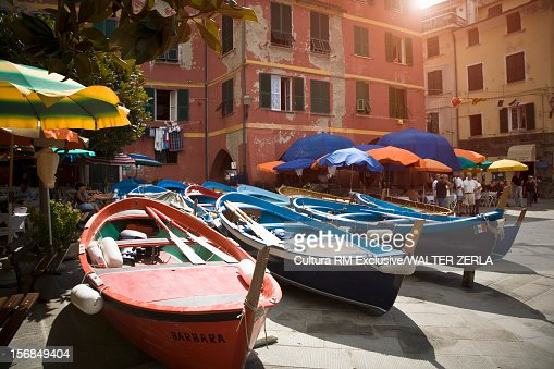 Canoes laying on city street