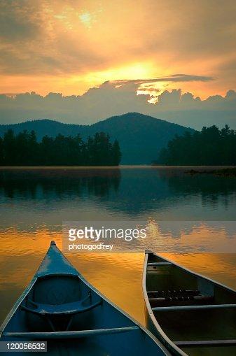 Canoes on Lake Placid