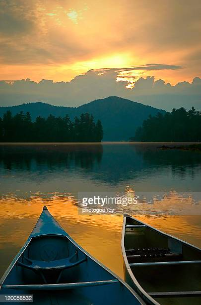 Canoes on Lake Placid